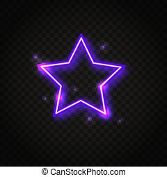 Neon purple star frame with space for text