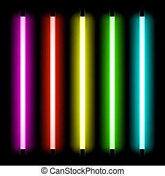 neon, rør, lys
