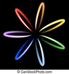 Neon rainbow flower. Vector illustration.