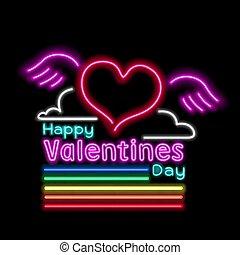neon rainbow valentines day sign