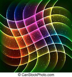 Neon rainbow waves vector background