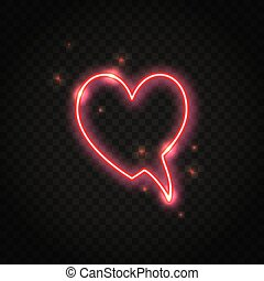 Neon red heart speech bubble with space for text