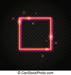 Neon red square frame with space for text