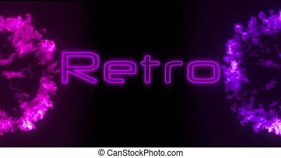 neon, retro, czarne tło, 4k, znak
