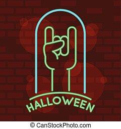 neon, rotolo, luce, iscrizione, simbolo, roccia, hadn, halloween