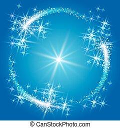 Neon round frame with stars