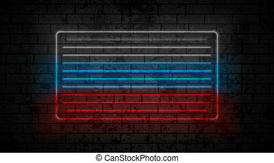 Neon Russian tricolour flag on brick wall motion background