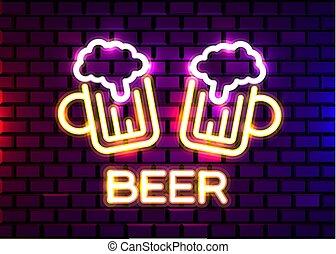neon, sbarra, retro, business., disegno, fondo., mattone, mestiere, pub, parete, ristorante, o, birra, segno, sbarra, beer.
