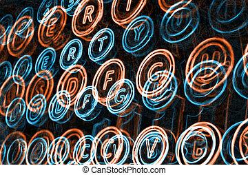 neon, schrijfmachine stemt, dichtbegroeid boven