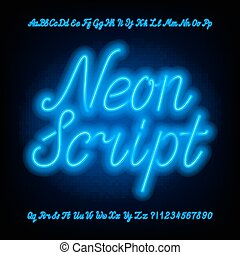 Neon script alphabet font. Blue neon uppercase and lowercase letters and numbers.