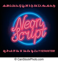 Neon script alphabet font. Red neon uppercase and lowercase letters and numbers. Hand drawn vector typeface for your headers or any typography design.