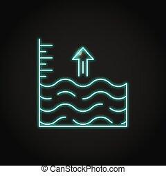 Neon sea level rise icon in line style. Vector illustration.