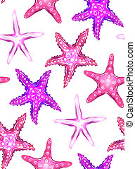 neon, seamless, struttura, fondo., starfishes, illustrazioni, bianco, cartone animato