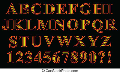 Font of serif characters rendered in neon style