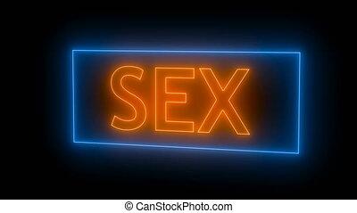 Neon Sex sign. 3d rendering seamless loop