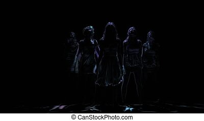 Neon shadows of women dancing on black background. Computer graphics