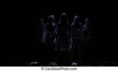 Neon shadows of women dancing on black background. Computer graphics