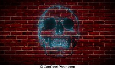 Neon sign, a symbol of a skull with roses, a bright luminous billboard, a night banner, neon bright advertising on a theme of a tattoo