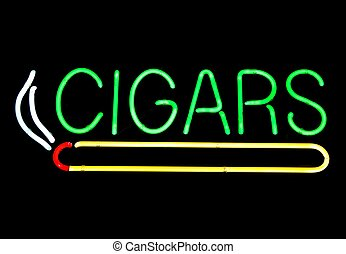 Neon Sign At Cigar Store - Colorful neon sign at a cigar...