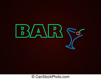 Neon sign bar on bricks wall