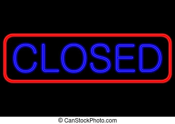 Neon Sign closed - Illuminated Neon sign with blue Letters...