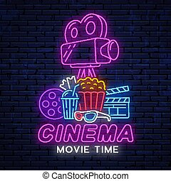 Neon sign for cinema.