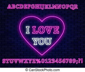 Neon sign I love you. Pink font.