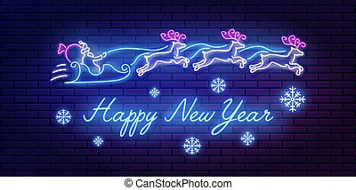 Neon sign lettering Happy New Year with santa claus and reindeer team and snowflakes on brick wall background. Glowing inscription banner, vector illustration