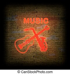 Neon sign music with a guitar and  saxophone on  brick wall