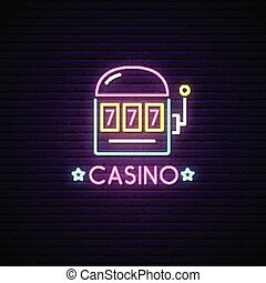 Neon sign of Casino. Neon emblem gambling, bright banner.
