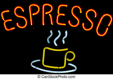 espresso - neon sign of coffee cup and word espresso