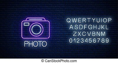 Neon sign of photo camera symbol with text and alphabet. ...