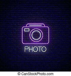 Neon sign of photo camera symbol with text. Photography ...
