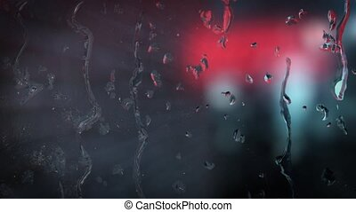 Neon sign of the motel behind the wet glass with drops HD
