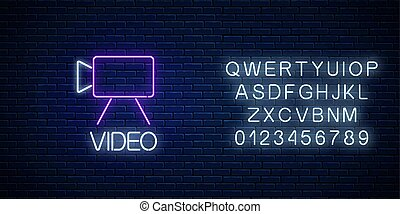 Neon sign of video camera symbol with text and alphabet. ...