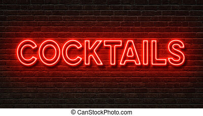 Neon sign on a brick wall - Cocktails