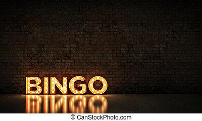 Neon Sign on Brick Wall background - Bingo. 3d rendering