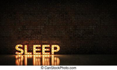 Neon Sign on Brick Wall background - Sleep. 3d rendering