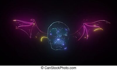 Neon sign. Retro neon Skull signboard on black background. ...