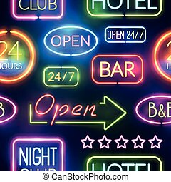 Neon Sign Seamless Pattern