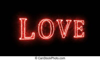 Neon sign. The word Love on a dark background. Design element for Valentine's Day.
