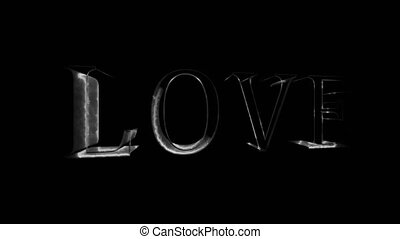 Neon sign. The word Love on a dark background. Design element for Valentine's Day.