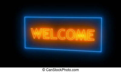 Neon sign. Welcome neon Seamless loop