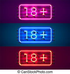 Neon signboard 18 plus color set