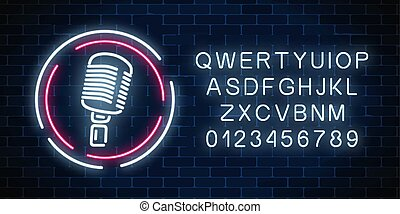 Neon signboard with microphone in round frame with alphabet. Nightclub with live music icon.