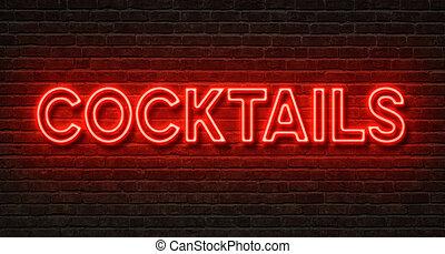 neon signera, på, a, tegelsten vägg, -, cocktailer