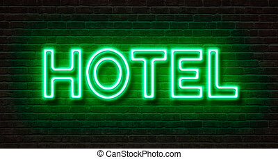 neon signera, på, a, tegelsten vägg, -, hotell