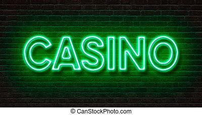 neon signera, på, a, tegelsten vägg, -, kasino