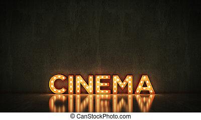 neon signera, på, tegelsten vägg, bakgrund, -, cinema., 3, framförande