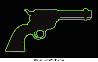 A green neon wild west six gun isolated over a black background
